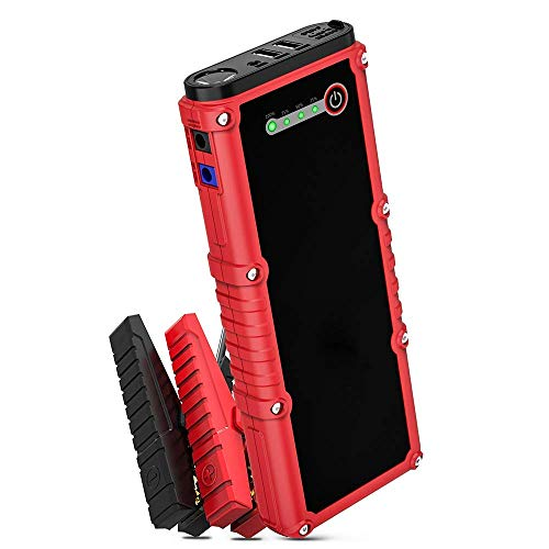 M MOOCK Car Jump Starter, 800A Peak 18000mAh 12V Auto Battery Booster(Up to 7.0L Gas or 4.5L Diesel Engine) Portable Power Pack, Built-in LED Flashlight with Car Jumper Cables Heavy Duty