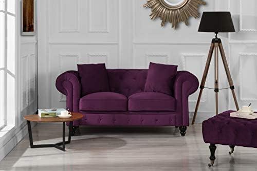 Best Divano Roma Furniture Classic Modern Scroll Arm Velvet Chesterfield Love Seat Sofa (Purple)