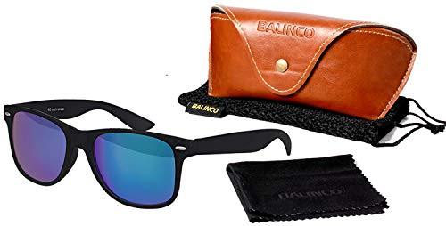 Balinco Hochwertige Polarisierte Nerd Rubber Sonnenbrille im Set (24 Modelle) Retro Vintage Unisex Brille mit Federscharnier (Black-Blue Mirror)