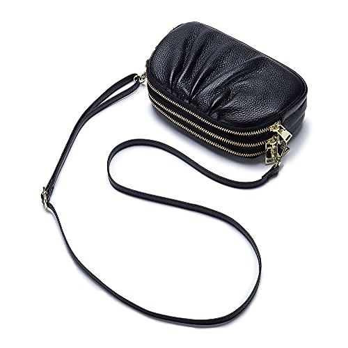 Cremallera señoras monedero monedero cuero genuino bolsa de teléfono para las mujeres gran capacidad cartera Crossbody bolso de hombro, Black, Small
