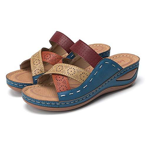 N/A Zapatillas Calientes, Zapatillas de cuña para Mujer, Sandalias Vintage, Sandalias con...