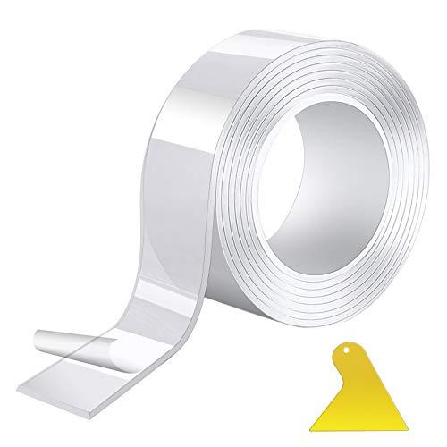 Hoxeejee 両面テープ 魔法のテープ 剥がせる 超強力 透明 粘着テープ 繰り返し利用可能 滑り止め 防水 耐熱 のり残らず 洗濯可能 多機能 粘着力抜群 工具付き (5cm×0.2cm×3m)