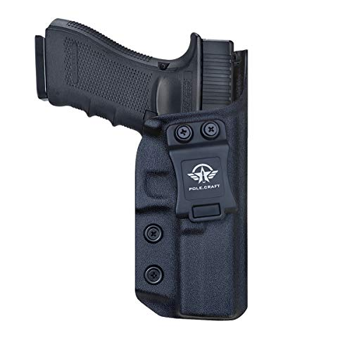 PoLe.Craft Glock 17 Fondine IWB Kydex for Glock 17 / Glock 22 / Glock 31 (Gen 3 4 5) - Glock 22 Holster IWB - Cintura Interna Nascosta per Il Trasporto Holster Glock 17 Accessori (Black, Right Hand)
