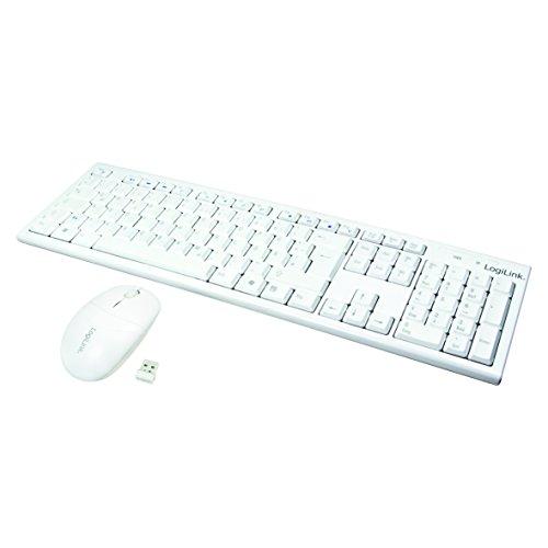 LogiLink ID0104W - Kabelloses Tastatur/Maus Set, 2, 4GHz, Tastatur 103 Tasten (+13 Hotkeys) - Maus (Optischer Sensor) mit 3 Bedientasten, Autolink Verbindung, Weiß