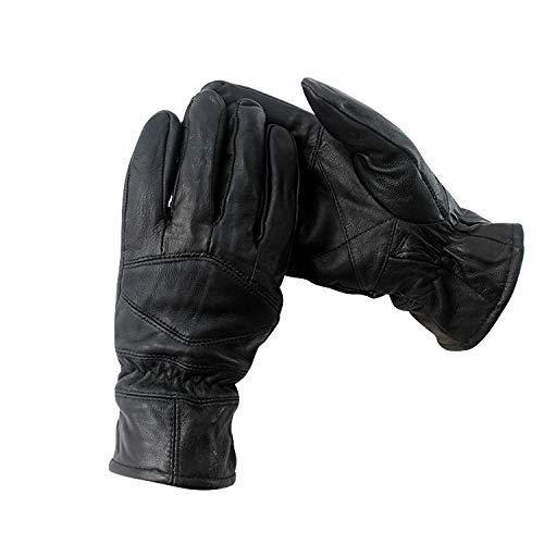 Yhui Fahrradhandschuhe 2019 Lederhandschuhe gefüttert Winter Driving Handschuhe for Männer Radfahren Outdoor Thermal (Color : Black, Size : L)