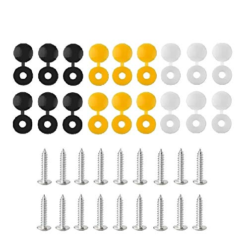 BEK-FIX 36 Piece Screws and Caps Number Plate Fixing Fitting Kit, White Yellow & Black Caps