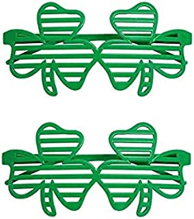 eb90052d Auch St. Patricks Day Shamrock Glasses Green Shutter Shades Clover  Sunglasses Party Supplies