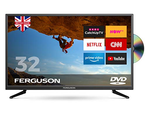 "FERGUSON 32"" SMART LED TV WITH DVD Player 4 x HDMI 2 x USB. TOP SPEC SMART TV DOWNLOAD MEDIA APPS & APK FILES - BRITISH MANUFACTURER - F32SFSD"