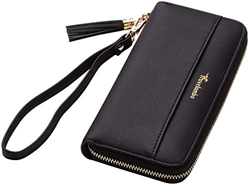 Travelambo Womens Wallet Tassel Bifold Ladies Cluth Wristlet Wrist strap Long Purse (Access Black)