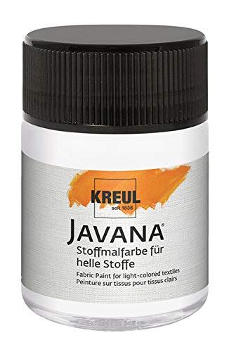 Kreul 91911 - Javana Stoffmalfarbe für helle Stoffe, 50 ml Glas in weiß, geschmeidige Farbe auf Wasserbasis mit cremigem Charakter, dringt fasertief ein, waschecht nach Fixierung