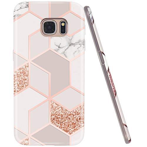 JAHOLAN Galaxy S7 Hülle Handyhülle TPU Silikon Weiche Schlank Schutzhülle Handytasche Flexibel Case Handy Hülle für Samsung Galaxy S7 - Marmor Glitter Sparkle Rose Gold