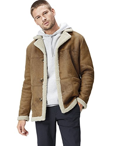 Amazon-Marke: find. Herren Shearling-Mantel, Braun, S, Label: S