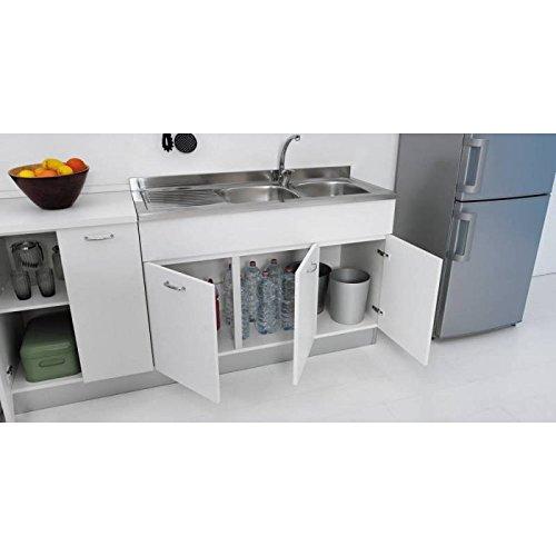 Mueble para fregadero de cocina, de 120x 50cm, con doble puerta, combinable con fregadero de acero inoxidable, disponible en tres colores
