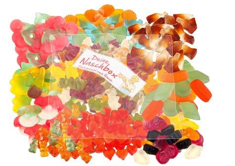 Deine Naschbox - Zuckerfreie Fruchtgummi Weingummi - 10 Sorten - 1kg Nachfüllbeutel