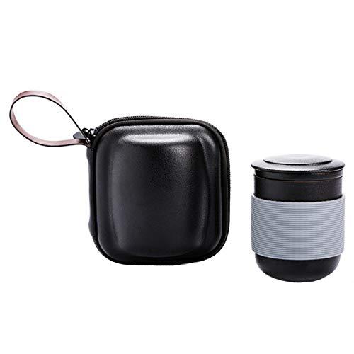 COKFEB Filtro de café 1 UNID Café con Tapa Portable Drinkware Aislamiento Viaje Juego de Té Filtro de Regalo Tetera Oficina Hogar Cerámica Colador Bolsa de Agua, Gris