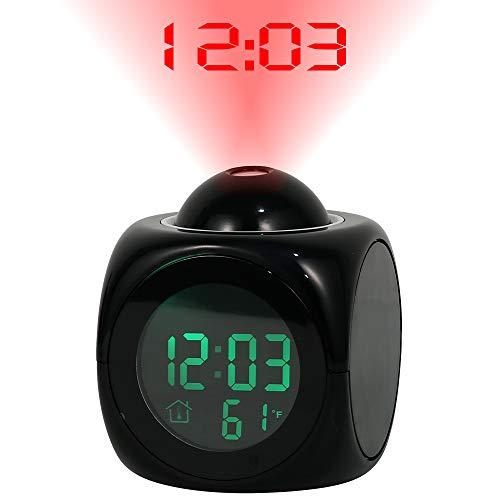 readygohigh 目覚まし時計 投影クロック 目覚まし時計 音声読み上げ 置き時計 プロジェクター 多機能 LEDデジタル 時間お知らせ 時間表示 音楽モード 投影アラーム 卓上時計 壁・天井投影 音量/輝度/投影角度 120° 回転調整可能 温度計