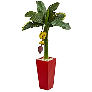 Nearly Natural Banana Artificial Tree in Red Tower Planter, 4′