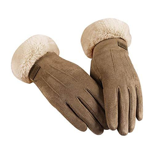 MAPPE Trendy Einfarbige Damenhandschuhe Guantes Im Herbst Und Winter Rekawiczki Winddichte Luva Warm Plus Samthandschuhe Handschoenen # C11, Kaffee, China
