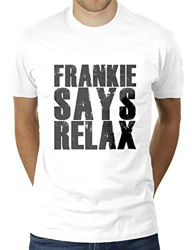 Frankie Says Relax - Herren T-Shirt von KaterLikoli, Gr. XL, Weiß
