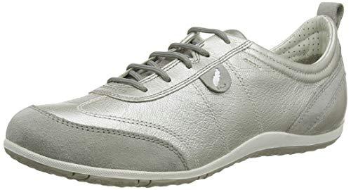 Geox D Vega A, Zapatillas Mujer, Plateado/Gris (Off White/Lt Grey), 37 EU