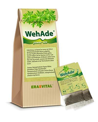 WehAde® Power-Tee 20 Teebeutel = 40g MIT Tassenreiter Papaya-Blätter gemahlene Chaga-Naturbrocken Schisandra Sinensis Beere schwarze Goji Beere.