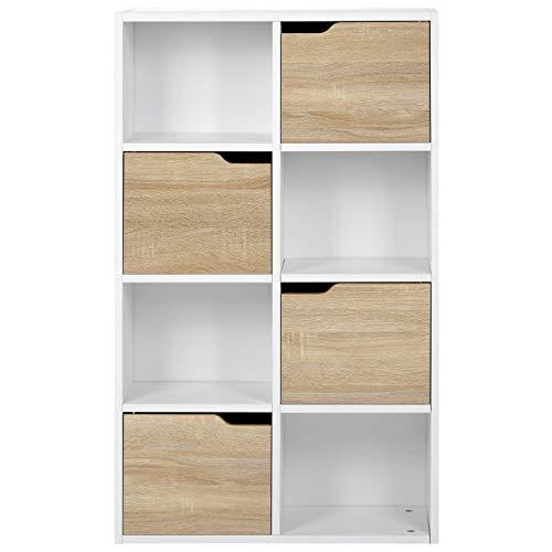 belupai Estantería con compartimento para libros, estantería de 4 niveles, estantería de madera, para TV, organizador de libros y DVD, para sala de estar y oficina