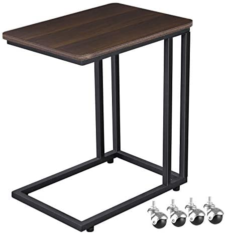 Best VASAGLE Mobile Snack Table Sofa Side Table for Coffee or Laptop with Metal Frame and Casters Modern