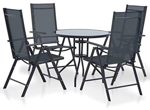 manieri Set Tavolo e 4 Sedie Pieghevoli da Giardino in Metallo e Textilene Nero