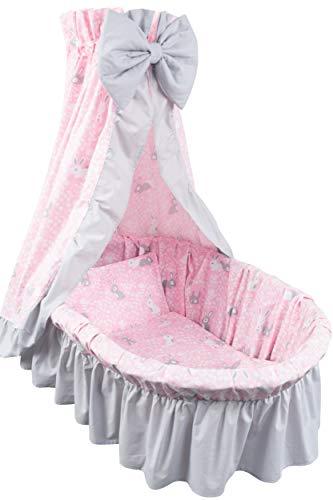 Amilian 9tlg Textile Ausstattung für STUBENWAGEN mit Himmelstange Bollerwagen Himmel Matratze Baby Bettwäsche für Kinderzimmer Design: Häschen Rosa/Hellgrau