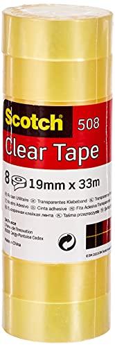 Scotch Transparentes Klebeband 508- 8 Rollen - 19mm x 33m - Durchsichtiges Allzweckband für Schule, Heim und Büro