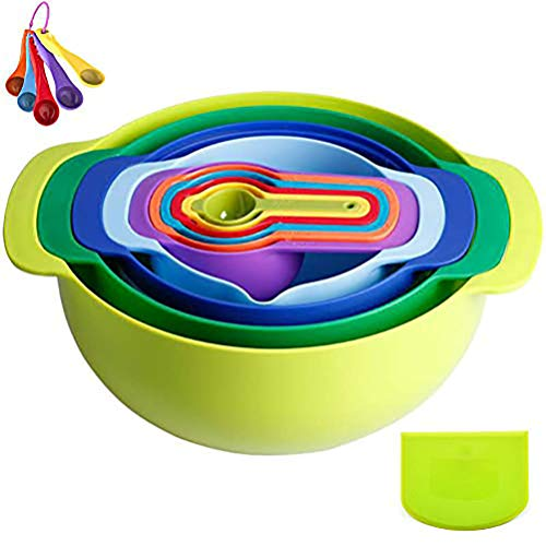16 Pcs Plastic Mixing Bowl,Mixing Bowl Set Dishwasher and Microwave Safe for Kitchen,Mixing Bowls/Mixing Bowls Set with Measuring Cups Sieve Colander Strainer Bowl for Salad/Baking Cooking(Green)