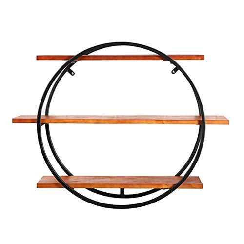 QIANDA Wandregal Schweberegal 3 Stufen Hölzern Lagerregale Runden Eisen Schwarzes Pfeifenregal Bookrack Für Bar Industrieller Retro, 3 Größen (größe : L)