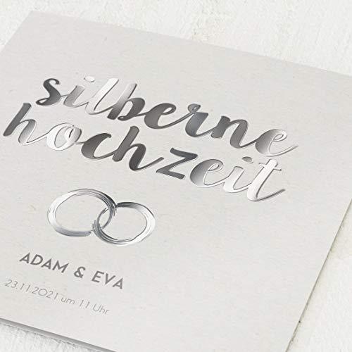 Einladungen zur Silberhochzeit, Verbundene Ringe, 5er Klappkarten-Set quadratisch, personalisiert mit Wunschtext & persönlichen Bildern, mit Veredelung, optional Umschläge im gleichen Design