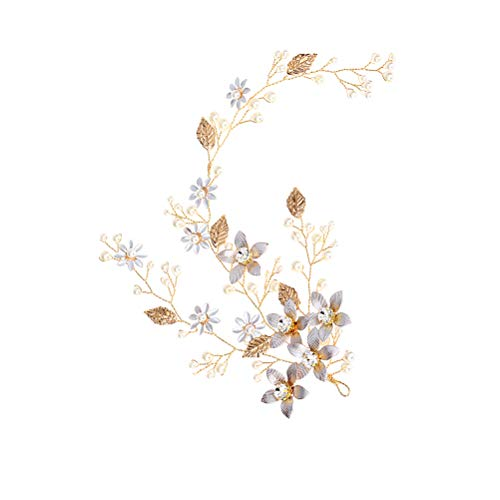 Elegante diadema de novia hecho a mano perlas hoja de la flor tocados nupciales Headwear accesorio...
