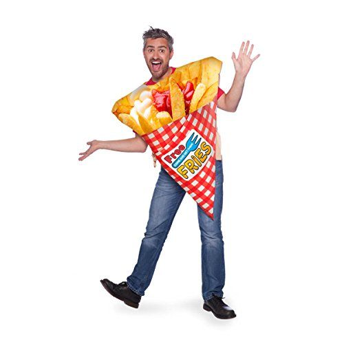 Folat-Bag of Fries Costume for Adults Disfraz de patatas fritas para adultos, multicolor, (64010)