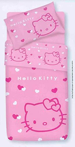 Gabel - Set di Lenzuola 1 Piazza in Puro Cotone con Fantasia Hello Kitty - Colore Rosa - Pink Lady