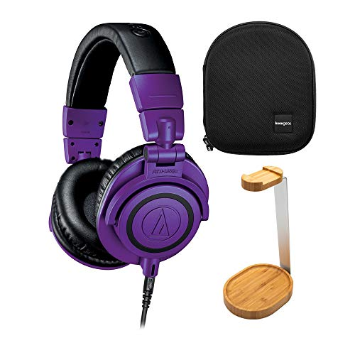 Audio-Technica ATH-M50X Professional Studio Monitor Headphones Purple with Knox Gear Protective Case and Stand (3 Items)