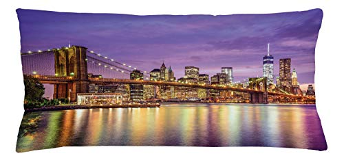 Ambesonne New York Throw Pillow Cushion Cover, NYC Exquisite Skyline Manhattan Broadway Old Neighborhood Tourist Country Print, Decorative Rectangle Accent Pillow Case, 36' X 16', Purple Gold
