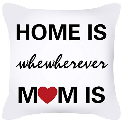 KnBoB Funda de Almohada Poliéster Home Is Wherever Mom Is Blanco Negro Rojo 50 x 50 cm Estilo 15
