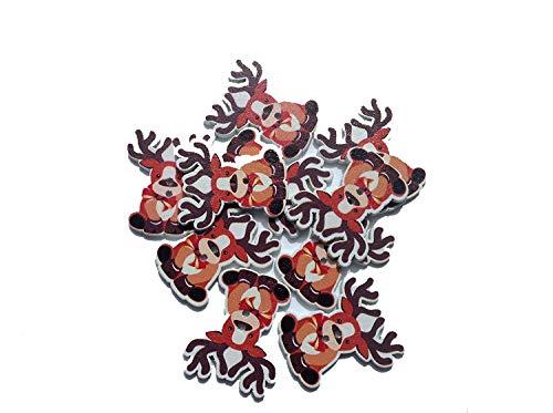 Kerst Rendier pak van 10 x twee gat Knoppen. Afmetingen: ca. 35 x 30 mm.