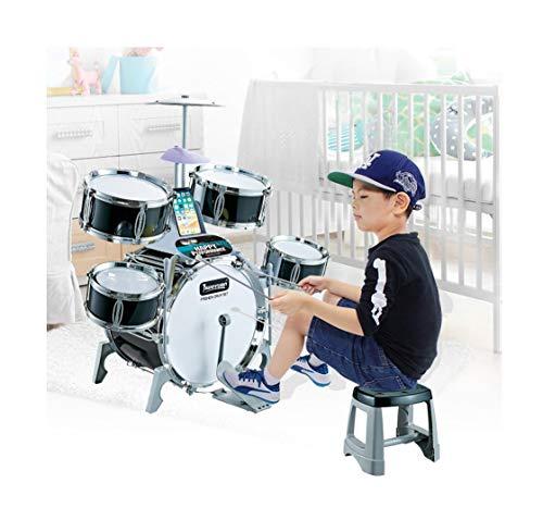 INiubi Kids Jazz Drum Set Best Gift for Children–5 Drums, 6 Instructional Song Cards, Kick Pedal, 2 Drumsticks, Stool(Multicolour)