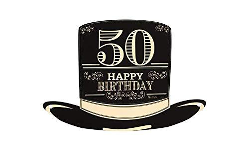 cappello 50 anni Givi Italia Cappello a Cilindro Piatto in Carta con Laccio 50 Anni Happy Birthday Festa Compleanno 4 pz