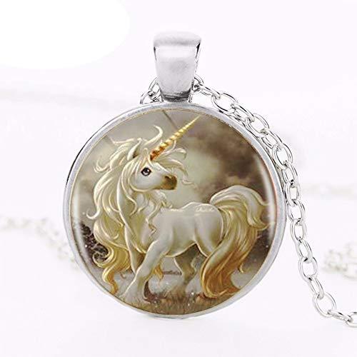 Collar con colgante de logotipo de unicornio lindo Pegaso caballo de corcel superventas hecho a mano resina redonda Vintage Neckalce joyería