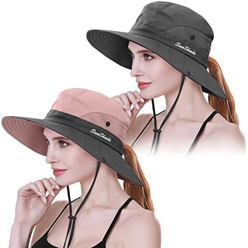 2 Pieces Womens Ponytail Wide Brim Sun Hat Packable UV Protection Beach Cap...