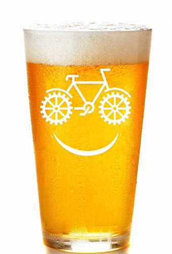 Bike Smiley Face MTB Cycling Beer Pint Glass, 16 oz. Drinking Glass