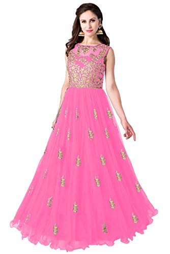 Varudi Fashion Multi Color Heavy Soft Net Fabric Embroidery Work Round Neck Sleevesless Long Semi Sticthed Gown For Women