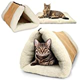 PARTYSAVING |2 Pack| PET Palace 2-in-1 Pet Bed Snooze Tunnel and Mat for Pets Cats Dogs and Kittens for Travel or Home, APL1354, Beige