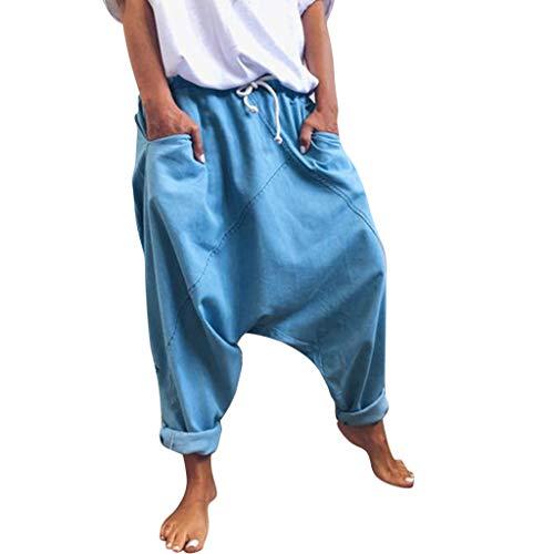 Auiyut Damen Haremshose mit tiefem Schritt Aladinhose Yoga Pumphose Baggy Ballon Yoga Hose Jumpsuit Baggy Sweatpants Jogginghose Hippie Hose Haremshose