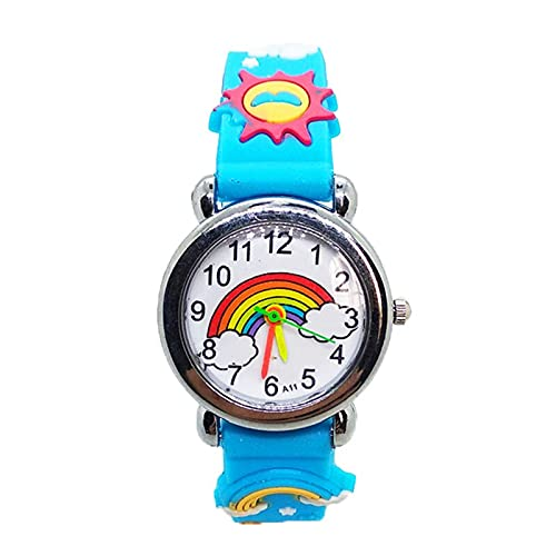 GUILING Niño de dibujos animados arco iris niños relojes de cuarzo electrónico niños reloj de pulsera niñas fiesta de cumpleaños niño regalo reloj bebé niños reloj