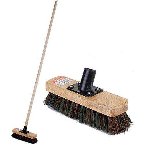 "Marko Homewares Broom Sweeping Brush Soft Stiff Head PVC Outdoor Yard Sweeper Handle Stable (9"" Still Deck Broom, With Handle)"